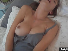 Busty horny wife excites her husband and sucks her cock